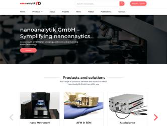 Bild Unternehmenswebseite für die Nano Analytik GmbH